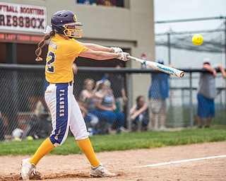 DIANNA OATRIDGE | THE VINDICATOR  Champion's Carli Swipas takes a swing during the Division III Regional Final against Northwestern on Saturday in Massillon. Champion won 3-0.