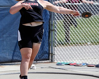 AUSTINTOWN, OHIO - May 24, 2019: Track & Field  D2 Region at Austintown-Fitch High School. .Salem's Abbie Antram throws the discus 133-02 feet to qualify for state competition. Photo by MICHAEL G. TAYLOR | THE VINDICATOR