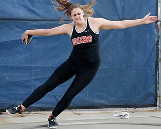 AUSTINTOWN, OHIO - May 24, 2019: Track & Field  D2 Region at Austintown-Fitch High School. .Salem's Caitlyn Marx throws the discus 142-09 feet to win. Photo by MICHAEL G. TAYLOR | THE VINDICATOR