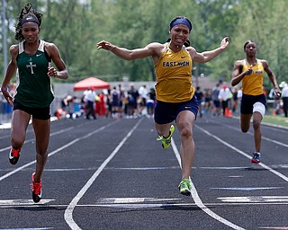 AUSTINTOWN, OHIO - May 24, 2019: Track & Field  D2 Region at Austintown-Fitch High School. .Youngstown East's Kyndia Matlock takes 2nd place in the 100 meters in the time of 11.76 secs.and qualifies for the state meet, Photo by MICHAEL G. TAYLOR | THE VINDICATOR