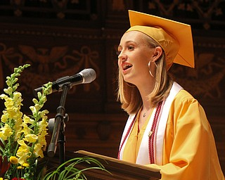 William D. Lewis The Vindicator  Liberty HS class of 2019 President Abigal Polewchak speaks during 5-30-19 commencement at Stambaugh Auditorium.