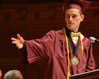 William D. Lewis The Vindicator  Liberty HS class of 2019 Salutorian Travis Myers speaks during 5-30-19 commencement at Stambaugh Auditorium.