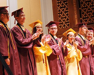 William D. Lewis The Vindicator  Liberty HS class of 2019 Valedictorians from left; Jason Ngo, Anthony Marsco Melina Manning, Mason Granger, Ashley Fabian, Zachary Coman and Sean Baumeier during 5-30-19 commencement at Stambaugh Auditorium.