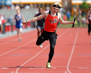COLUMBUS, OHIO - May 31, 2019: OHSAA Track & Field Championships at Jesse Owens Stadium, Ohio State University. .D3 Boy's 4x200 Relay. Springfield's Garrett Walker lunges for finish line. Photo by MICHAEL G. TAYLOR | THE VINDICATOR