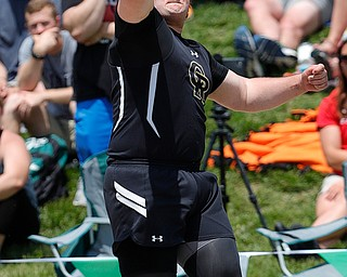 COLUMBUS, OHIO - May 31, 2019: OHSAA Track & Field Championships at Jesse Owens Stadium, Ohio State University. .D3 Boy's Shot Put. Crestview's Dominic Perry completes his winnng throw in the final. Photo by MICHAEL G. TAYLOR | THE VINDICATOR