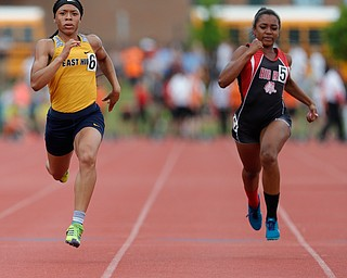 COLUMBUS, OHIO - May 31, 2019: OHSAA Track & Field Championships at Jesse Owens Stadium, Ohio State University. .D2 Girl's 100m. Youngstown East's Kyndia Matlock qualifies for the final. Photo by MICHAEL G. TAYLOR | THE VINDICATOR