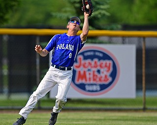 HUDSON, OHIO - MAY 31, 2019: Poland's Ian Lu catches a fly ball for the out in the first inning of Friday nights OHSAA Division II Regional Semi-Final game at Hudson High School. Gilmour Academy won 11-0. DAVID DERMER | THE VINDICATOR