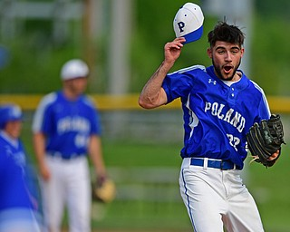 HUDSON, OHIO - MAY 31, 2019: Poland starting pitcher Braden Olson reacts to a called ball four with the bases loaded to walk in a run in the first inning of Friday nights OHSAA Division II Regional Semi-Final game at Hudson High School. Gilmour Academy won 11-0. DAVID DERMER | THE VINDICATOR