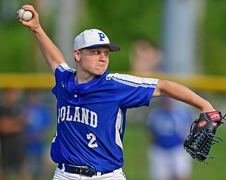 HUDSON, OHIO - MAY 31, 2019: Poland relief pitcher Alex Barth delivers in the third inning of Friday nights OHSAA Division II Regional Semi-Final game at Hudson High School. Gilmour Academy won 11-0. DAVID DERMER | THE VINDICATOR