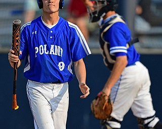 HUDSON, OHIO - MAY 31, 2019: Poland's Ian Lu walks to the dugout after striking out in the fifth inning of Friday nights OHSAA Division II Regional Semi-Final game at Hudson High School. Gilmour Academy won 11-0. DAVID DERMER | THE VINDICATOR