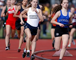 COLUMBUS, OHIO - May 31, 2019: OHSAA Track & Field Championships at Jesse Owens Stadium, Ohio State University. .D3 Girl's 4x800 Relay, McDonald's Anna Guerra runs the 3rd leg. McDonald finished 4th. Photo by MICHAEL G. TAYLOR | THE VINDICATOR