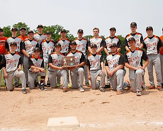 Springfield's baseball team poses with their runner-up trophy after losing to Hillsdale 16-2 at Strongsville High School on Saturday. EMILY MATTHEWS | THE VINDICATOR
