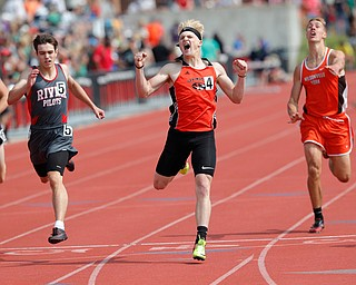 COLUMBUS, OHIO -June 1, 2019: OHSAA Track & Field Championships at Jesse Owens Stadium, Ohio State University. .D3 Boy's 400. Springfield's Garrett Walker celebrates winning the state championship. Photo by MICHAEL G. TAYLOR | THE VINDICATOR