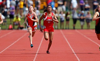 COLUMBUS, OHIO -June 1, 2019: OHSAA Track & Field Championships at Jesse Owens Stadium, Ohio State University. .D3 Girl's 200m. Labrae's Dynesty Ervin runs down the stretch. Photo by MICHAEL G. TAYLOR | THE VINDICATOR