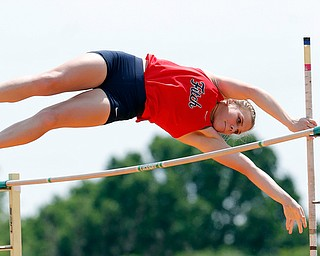 COLUMBUS, OHIO -June 1, 2019: OHSAA Track & Field Championships at Jesse Owens Stadium, Ohio State University. .Girl's D1 Pole Vault. Austintown's Madison Skelly clears the height. Photo by MICHAEL G. TAYLOR | THE VINDICATOR