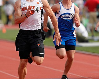 COLUMBUS, OHIO -June 1, 2019: OHSAA Track & Field Championships at Jesse Owens Stadium, Ohio State University. .D3 Boy's 100m. Wellsville's Justin Wright  leans for the finish line for the win. Photo by MICHAEL G. TAYLOR | THE VINDICATOR