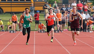 COLUMBUS, OHIO -June 1, 2019: OHSAA Track & Field Championships at Jesse Owens Stadium, Ohio State University. .D3 Boy's 100m. Tight pack. Photo by MICHAEL G. TAYLOR | THE VINDICATOR