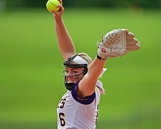 AKRON, OHIO - JUNE 1, 2019: Champion starting pitcher Allison Smith delivers in the fifth inning of the OHSAA Division III Championship game, Saturday morning at Firestone Stadium in Akron. Champion won 5-0. DAVID DERMER | THE VINDICATOR