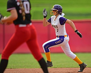 AKRON, OHIO - JUNE 1, 2019: Champion's Emma Gumont runs to third for a triple in the sixth inning of the OHSAA Division III Championship game, Saturday morning at Firestone Stadium in Akron. Champion won 5-0. DAVID DERMER | THE VINDICATOR