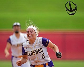 AKRON, OHIO - JUNE 1, 2019: Champion starting pitcher Allison Smith celebrates after defeating Cardington-Lincoln 5-0 to win the Division III State Softball Championship, Saturday morning at Firestone Stadium. DAVID DERMER | THE VINDICATOR