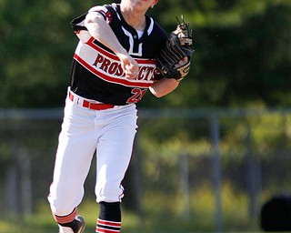 Prospects' Frankie Manios, of Howland, throws the ball to first during their game against Whiting at Bob Cene Park on Monday evening. EMILY MATTHEWS | THE VINDICATOR