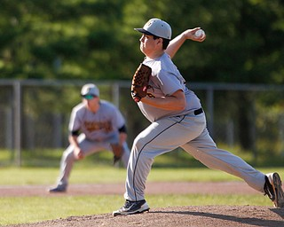 Whiting's Zack Walker pitches the ball during their game against the Prospects at Bob Cene Park on Monday evening. EMILY MATTHEWS | THE VINDICATOR