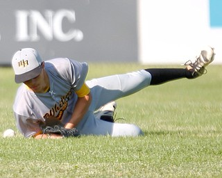 Whiting's Josh Ickes misses a ball in the outfield during their game against the Prospects at Bob Cene Park on Monday evening. EMILY MATTHEWS | THE VINDICATOR