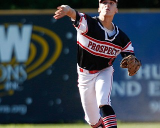 Prospects' Johnnie Mikos throws the ball to first during their game against Whiting at Bob Cene Park on Monday evening. EMILY MATTHEWS | THE VINDICATOR
