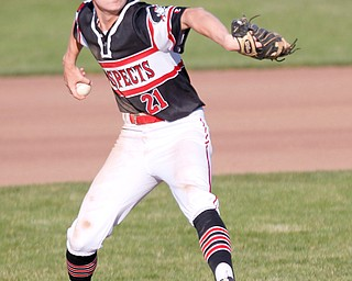 Prospects' Frankie Manios pitches the ball during their game against Whiting at Bob Cene Park on Monday evening. EMILY MATTHEWS | THE VINDICATOR