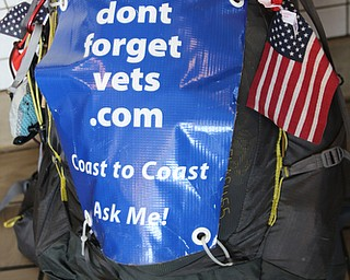 ROBERT K.YOSAY  | THE VINDICATOR...vetsdontforgetvets.com.William Shuttleworth is  on a 7-month walk across America from Massachusetts to California, ÒVets DonÕt Forget VetsÓ as he came through Youngstown on Tuesday.