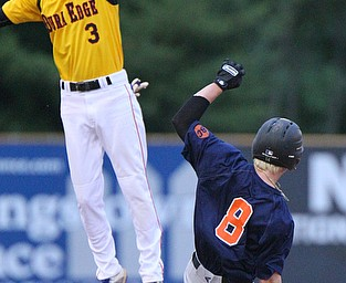 William D. Lewis The Vindicator Astros Dom Pilolli(8) steals 2nd as Dura Edge's Tyler Robinson(3) tries to make the catch during a 6-4-19 game at Cene.