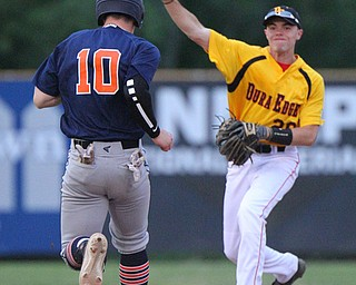 William D. Lewis The Vindicator Dura EdgeNathan Meeks(20)throws to first for a double play during 1rst inning. AstrosAndrew Russell(10) is out at 2nd during a 6-4-19 game at Cene.