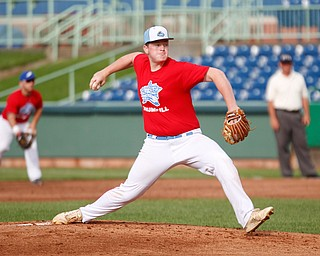 Trumbull County's Adam Wibert, of Mathews, pitches during the 2019 High School Valley All Star Classic against Mahoning County at Eastwood Field on Friday evening. EMILY MATTHEWS | THE VINDICATOR