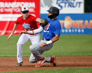 Trumbull County's Frank Manios, of Howland, tags out Mahoning County's Jad Jaddallah, of Canfield, during the 2019 High School Valley All Star Classic at Eastwood Field on Friday evening. EMILY MATTHEWS | THE VINDICATOR