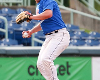 Mahoning County's Bryan Harris, of Lowellville, throws the ball to first during the 2019 High School Valley All Star Classic against Trumbull County at Eastwood Field on Friday evening. EMILY MATTHEWS | THE VINDICATOR