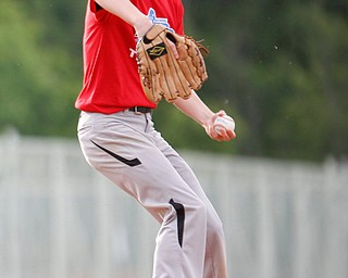 Trumbull County's Gage Elza, of Bristol, pitches during the 2019 High School Valley All Star Classic against Mahoning County at Eastwood Field on Friday evening. EMILY MATTHEWS | THE VINDICATOR