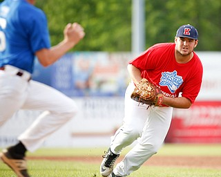 Trumbull County's Alex Hernandez, of JFK, tries to beat Mahoning County's Mike Fetsko, of Boardman, to first during the 2019 High School Valley All Star Classic at Eastwood Field on Friday evening. EMILY MATTHEWS | THE VINDICATOR