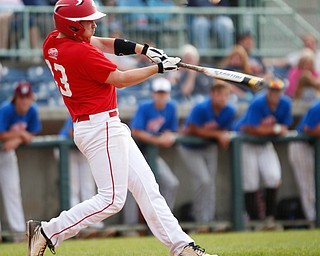 Trumbull County's Nick Degregory, of Girard, hits the ball during the 2019 High School Valley All Star Classic at Eastwood Field on Friday evening. EMILY MATTHEWS | THE VINDICATOR