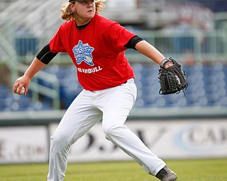 Trumbull County's Jackson Iceman, of Mathews, throws the ball to first during the 2019 High School Valley All Star Classic at Eastwood Field on Friday evening. EMILY MATTHEWS | THE VINDICATOR
