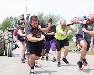 From left, Anthony Lariceia, Christa Flora, Adam Miller, and Nick Franceschelli, all with Team BSS Training and Fitness, participate in a people-powered tractor pull during the Autism Warrior Event at the Canfield Fairgrounds on Saturday. EMILY MATTHEWS   THE VINDICATOR