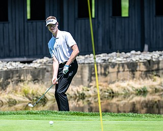 DIANNA OATRIDGE | THE VINDICATOR  Rob Shelton, 17, of Niles watches his chip shot land on the green of Hole No. 3 during the Greatest Golfer of the Valley Junior Qualifier at Pine Lakes in Hubbard on Tuesday.
