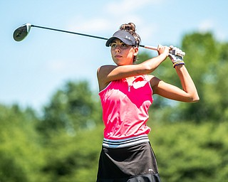 DIANNA OATRIDGE | THE VINDICATOR Sierra Richard, 17, of Beaver Falls, watches her tee shot during the Greatest Golfer of the Valley Junior Qualifier at Pine Lakes in Hubbard on Tuesday.