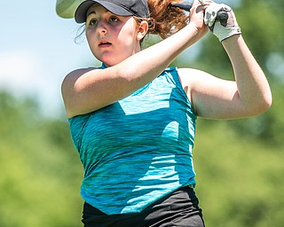 DIANNA OATRIDGE | THE VINDICATOR Hannah Ogden, 16, of Poland watches her tee shot during the Greatest Golfer of the Valley Junior Qualifier at Pine Lakes in Hubbard on Tuesday.
