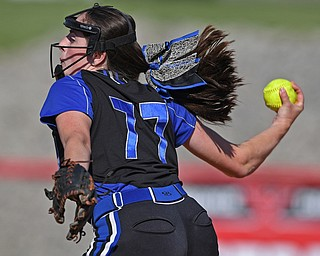 YOUNGSTOWN, OHIO - JUNE 11, 2019: Lakeview's Cait Kelm delivers in the fourth inning of the 16th Annual Bill Sferra Softball Classic, Tuesday afternoon at Youngstown State University. DAVID DERMER | THE VINDICATOR