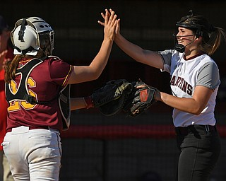 YOUNGSTOWN, OHIO - JUNE 11, 2019: Boardman pitcher Jennifer Taraszewski, right, is congratulated by Mooney's Conchetta Ronaldi after defeating Trumbull County in the 16th Annual Bill Sferra Softball Classic, Tuesday afternoon at Youngstown State University. DAVID DERMER | THE VINDICATOR