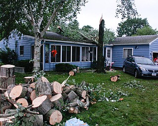 This house on Tod Avenue Northwest was struck by a tree during Sunday afternoon's storm, sending a family into the bathroom to ride out the winds. The neighborhood also had no power as of about 9:30 p.m. Sunday. ED RUNYAN | THE VINDICATOR