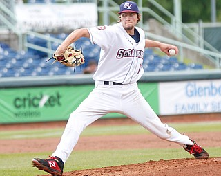 The Scrappers' Matt Turner pitches during their game against the Muckdogs at Eastwood Field on Sunday evening. EMILY MATTHEWS | THE VINDICATOR