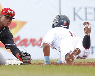 The Muckdogs' Dalvy Rosario tags out the Scrappers' Brayan Rocchio on a steal during their game at Eastwood Field on Sunday evening. EMILY MATTHEWS | THE VINDICATOR