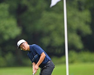 BOARDMAN, OHIO - JUNE 18, 2019: Max Hu, of Richmond Hill, Ontario, follows his putt on 17th hole, Tuesday afternoon at Mill Creek Golf Course during he first round of the American Junior Golf Association Tournament. DAVID DERMER | THE VINDICATOR