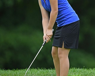 BOARDMAN, OHIO - JUNE 18, 2019: Emma Chen, of Derwood, Maryland, watches her putt on the 10th hole, Tuesday afternoon at Mill Creek Golf Course during he first round of the American Junior Golf Association Tournament. DAVID DERMER | THE VINDICATOR